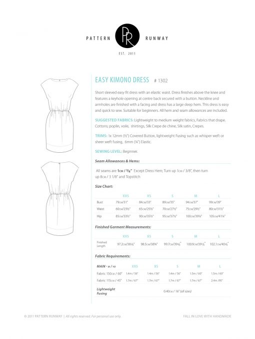 Easy Kimono Dress Pattern Instructions