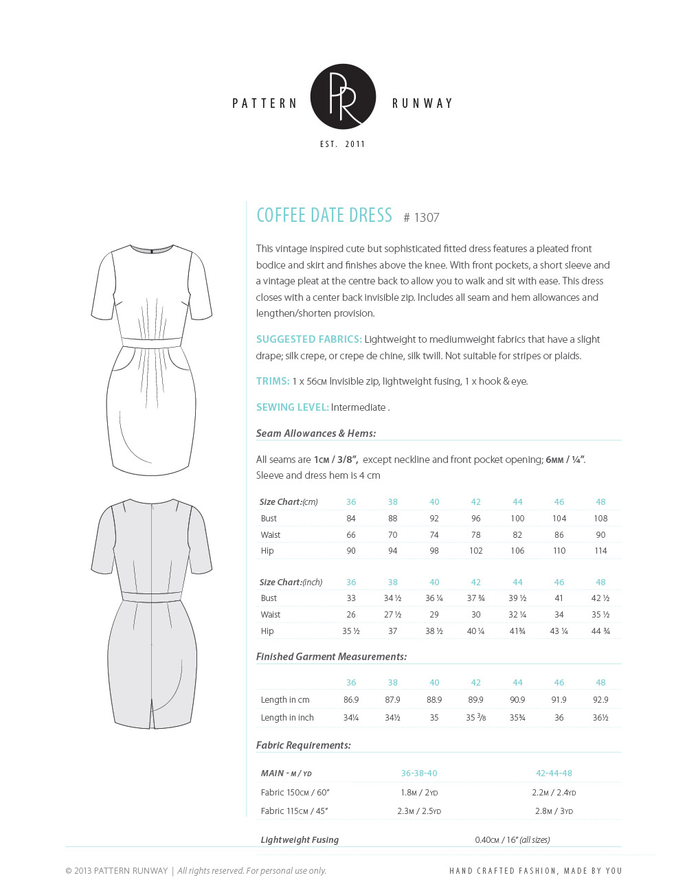 Coffee Date Dress Pattern Info