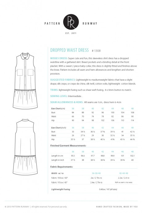Drop Waist Dress Pattern Instructions