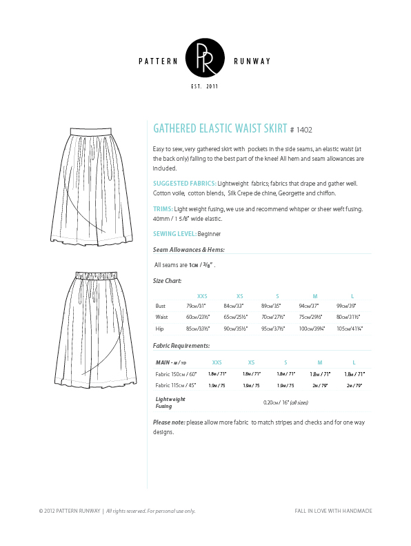Easy Gathered Skirt Sewing Pattern Pattern Runway